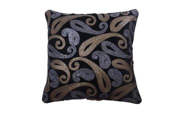 Set Of 5 Black Velvet Cushion Cover with Golden and Silver Sequence