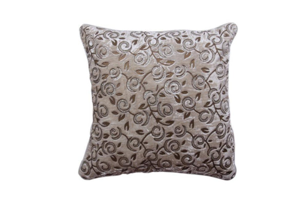 Velvety Soft Cushion Cover of Cream Velvet Color with Golden work