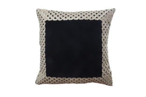 Set of 5 Black Velvet Cushion Cover with Golden trim - My Aashis