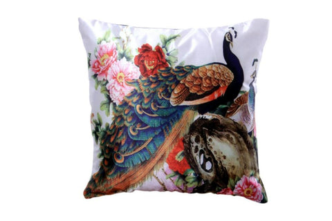 Set Of 5 Peacock Print Cushion Cover - My Aashis