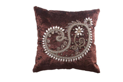 Set Of 5 Elegant Brown Velvet Cushion Cover with pearl design