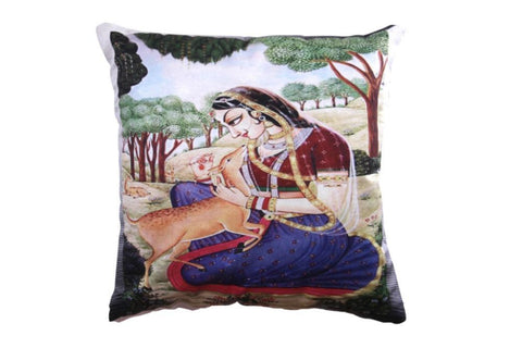 Set of 5 Printed Cushion Cover with Lady in ethnic costume