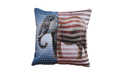 Set of 5 Printed Cushion Cover with Flag & Elephant pattern