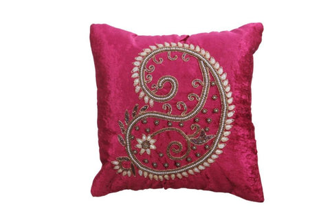 Set of 5 Beautiful Pink Velvet With Pearl Design Cushion Cover - My Aashis