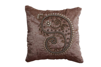 Set Of 5 Coffee Color Velvet Cushion Cover with Pearl Design