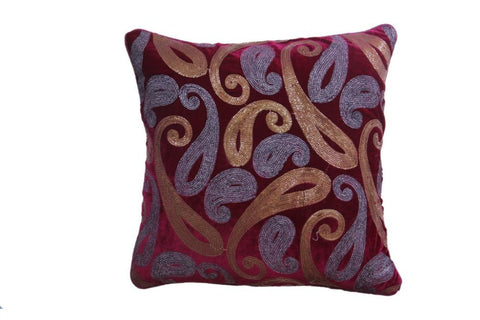 Set Of 5 Maroon Velvet With Golden And Silver Sequence Cushion Cover - My Aashis