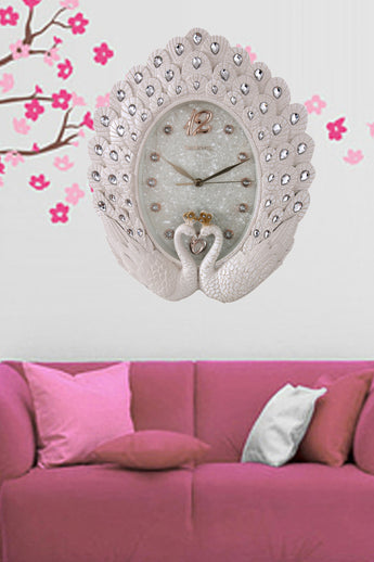 European-style White Peacock Wall Clock - My Aashis