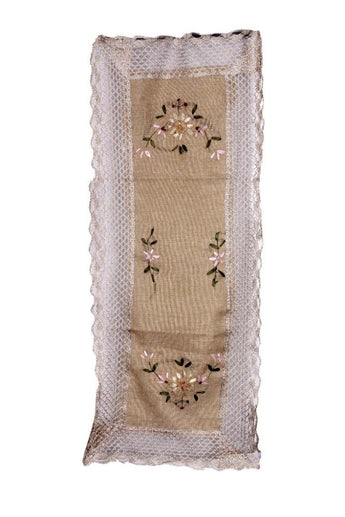 Handmade Jute Hemstitched Classic Embroidered Natural Table Runners