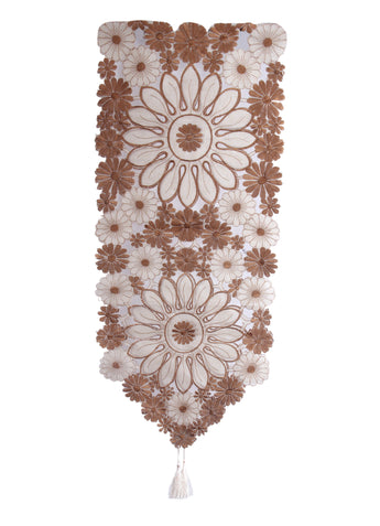 Vintage  Brown Lace Table Runner And Dresser Scarves Embroidered Floral