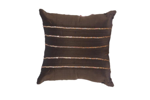 Set Of 5 Cushion Cover in Silk with Golden Sequence in Strips - My Aashis