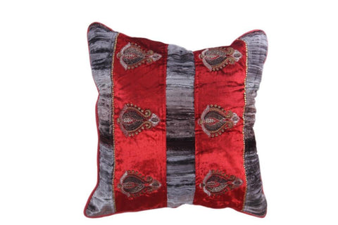 Set Of 5 Royal Red and Silver Velvet Cushion Cover with Golden work - My Aashis