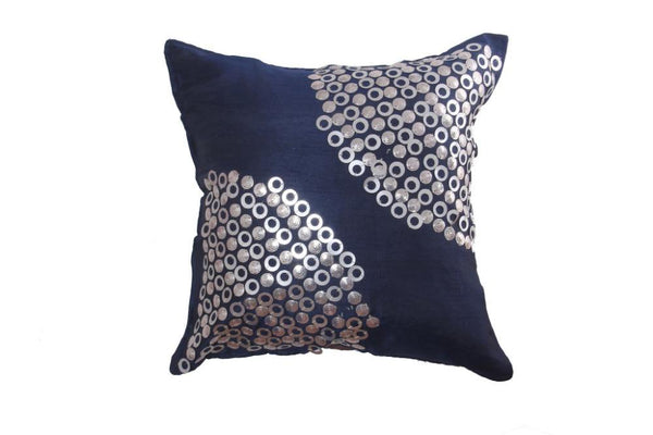 Silk Cushion Cover in Blue with Metal Ring Pattern