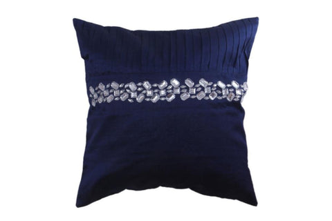 Royal Blue Cushion Cover in Silk with Silver Work