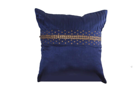 Blue Cushion Cover in Silk with Golden Work