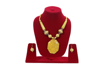 "Beach, Chunky, 19"" Necklace Set with Yellow Wood , Amber Seeded Beads With Hoop Earrings - My Aashis"