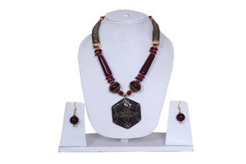 "Beach, Chunky, 15"" Necklace Set with Cherry Wood , Amber Seeded Beads With Hoop Earrings - My Aashis"