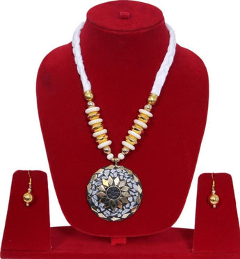 Fashion Junk Tibetan Handmade Beaded Pendant Necklace Earrings Set