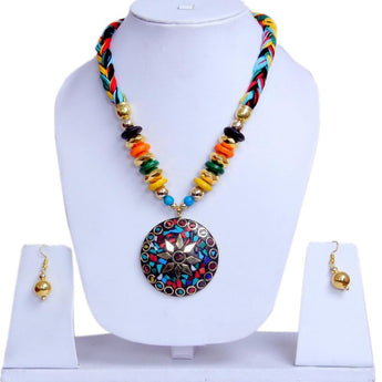 Fashion Junk Beaded Long Necklace Earrings Set Tibetan Painted for Women