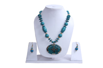 "Beach, Chunky, 14"" Necklace Set with Blue Wood , Amber Seeded Beads With Hoop Earrings - My Aashis"