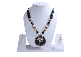 Men Style Beach Vintage Big Black Stone Gold Semiprecious Necklace With Hoop Earrings - My Aashis