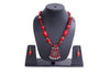 Men Style Beach Vintage Big Red Stone Gold Semiprecious Zinc Alloy Necklace With Hoop Earrings