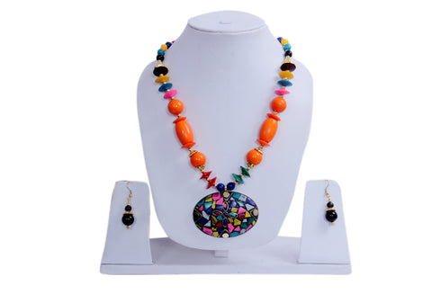 Hawaiian Orange Island Necklace and Earrings - My Aashis