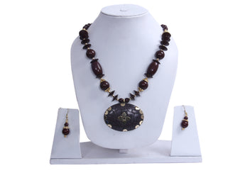 Hawaiian Brown Island Necklace and Earrings - My Aashis