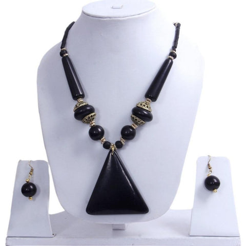 "Beach, Chunky, 13"" Necklace Set with Black Wood , Amber Seeded Beads With Hoop Earrings"