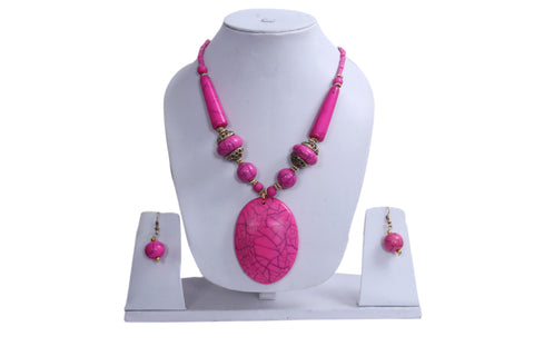 "Beach, Chunky, 15"" Necklace Set with Pink and Orange Wood , Amber Seeded Beads With Hoop Earrings - My Aashis"