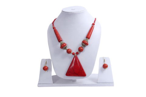 "Beach, Chunky, 15"" Necklace Set with Orange Wood , Amber Seeded Beads With Hoop Earrings - My Aashis"
