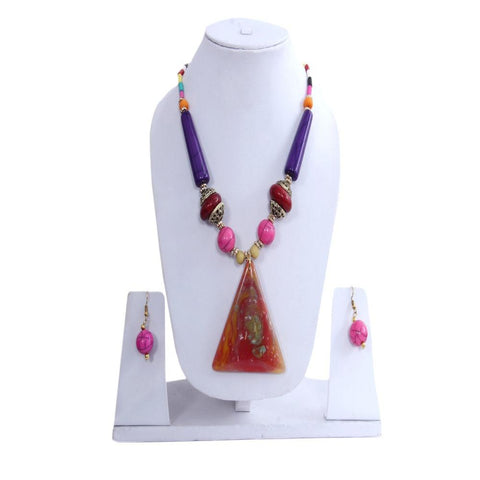 Colorful Chunky Necklace Set With Gold Plated Hoop Earrings - My Aashis
