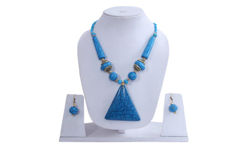 Hawaiian Blue Island Necklace and Earrings Charm Pendant,  Adjustable Necklace 20-24""