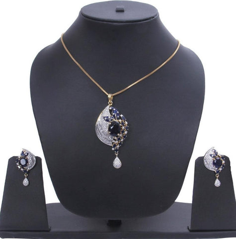 American Diamond CZ stones blue pendant with earrings gold plated
