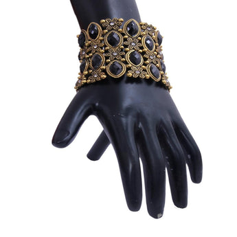 Elegant Gold Plated and Black Stone Crafted Bracelet - My Aashis