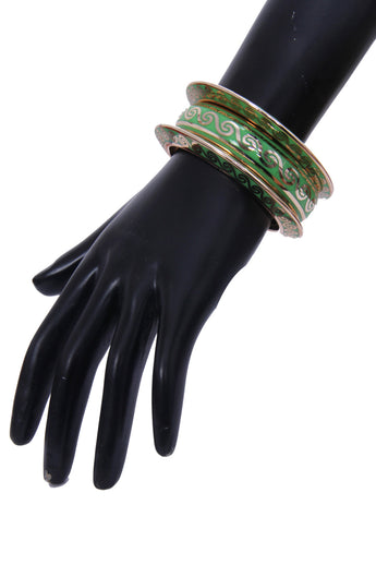 Designers Metallic Golden and Green Bangle Set - My Aashis