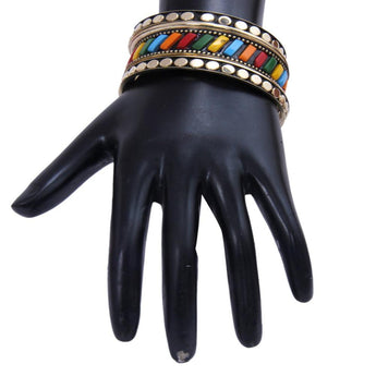 Designers Black  Metallic Golden and Colorful Bangle Set