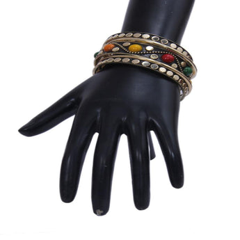 Charming Muticolor Bangles Studded With Black Metallic Golden - My Aashis
