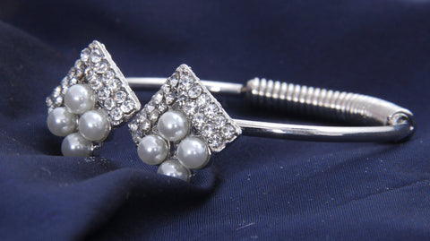 Silver Tone Skinny Open Cuff Bracelet with With Pearl and White Stones