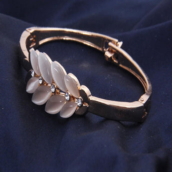 Copper Bracelet With White  Beads and Zarcon Bangle/ Bracelets - My Aashis