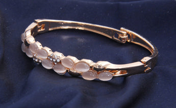 Copper Bracelet With Rose Gold Beads and Zarcon Bangle/ Bracelets - My Aashis