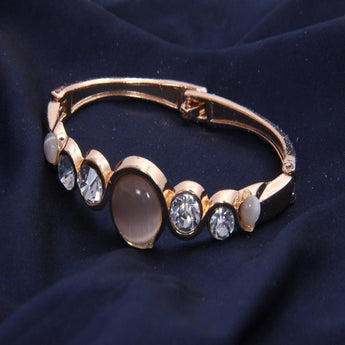 Copper Bracelet With Rose Gold Beads and Crystal Bangle - My Aashis