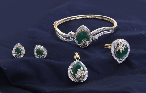 American Diamond and Emerald Embedded Combo of Pendant with Earrings, Bracelet and Ring
