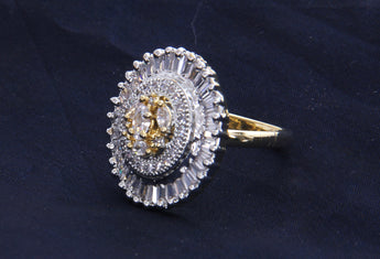 Gold-Plated CZ Stone-Studded Adjustable ring