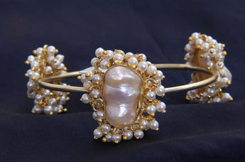 Gold Tone Two Flowers Shape Pearl Charm bangle/ Bracelet - My Aashis