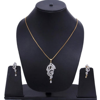 Cardinal American Diamond Gold Plated Pendant Set - My Aashis