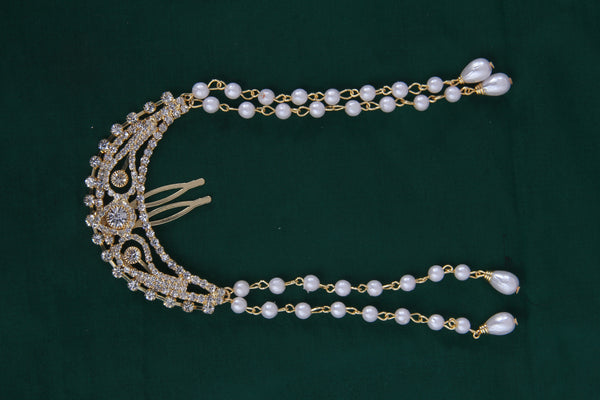 Gold Finish Traditional Hair Pin with Pearl Drop