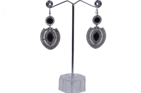 Antique Silver Created Black Onyx Opal Teardrop Earrings with Secure Wire and Hook Backs - My Aashis