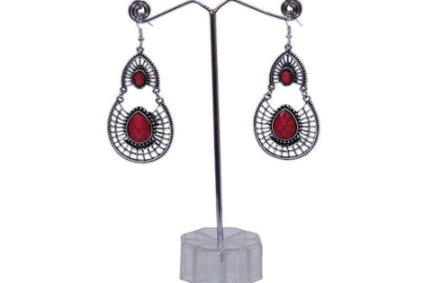 Antique Silver Created Red Fire Opal Teardrop Earrings with Secure Wire and Hook Backs - My Aashis
