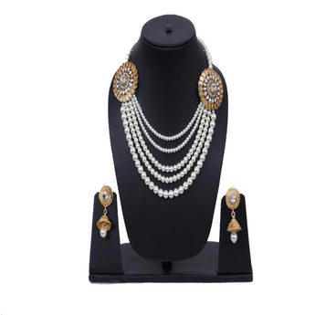 Kundan Style Pearl Studded Gold Plated Necklace Set - My Aashis