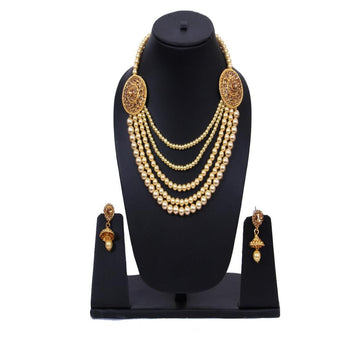 Bollywood Style Gold Plated Pearl Studded Necklace Set - My Aashis